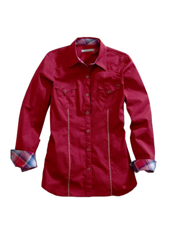 Tin Haul Collection Tinhaul Womens Long Sleeve Shirt 1099 Solid Poplin - Red