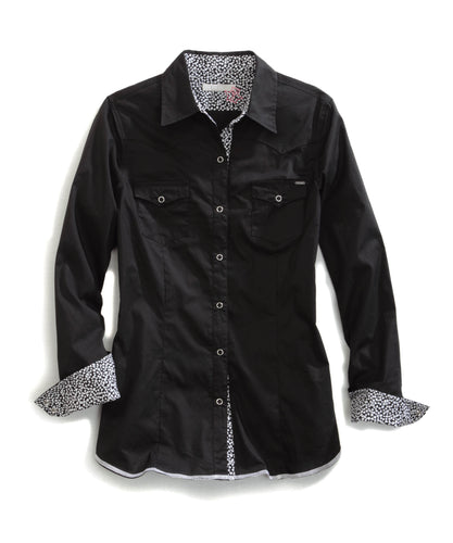Tin Haul Collection Tinhaul Womens Long Sleeve Shirt 0739 Solid Poplin - Black