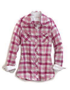 Tin Haul Collection Tinhaul Womens Long Sleeve Shirt 0460 Raspberry Check
