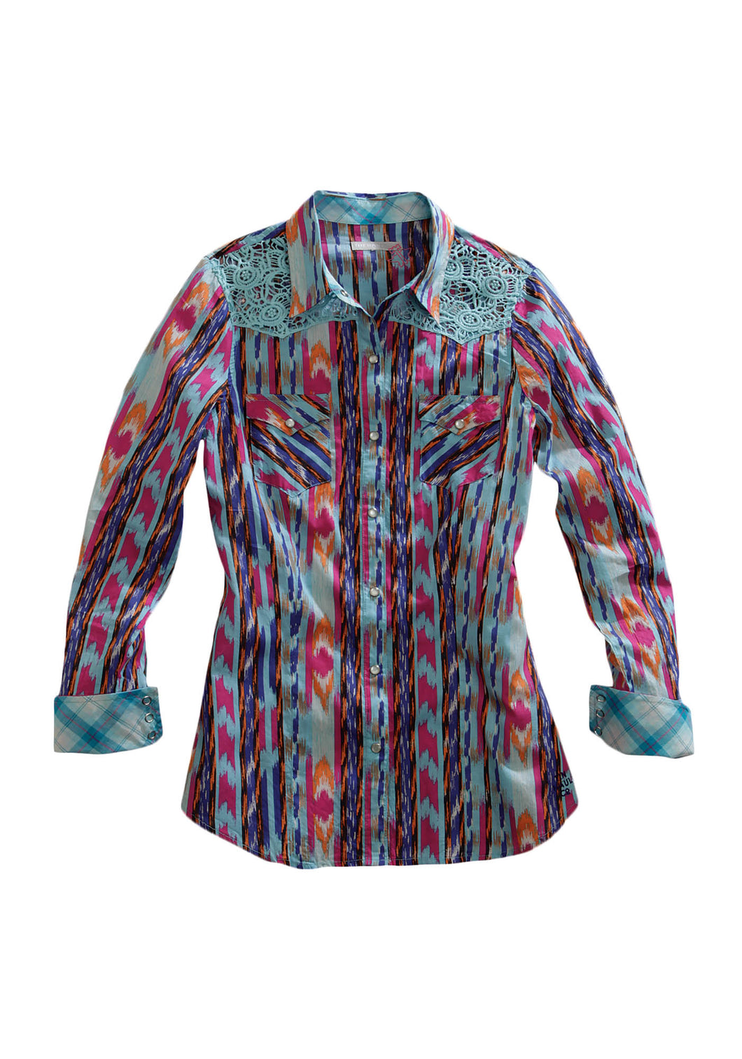 Tin Haul Collection Tinhaul Ladies Long Sleeve Shirt 0246 Multi Ikat Print