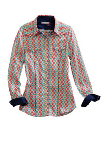 Tin Haul Collection Tinhaul Ladies Long Sleeve Shirt 0243 Bright Squared Print