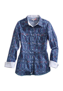Tin Haul Collection Tinhaul Womens Long Sleeve Shirt 1547 Diamond Ikat