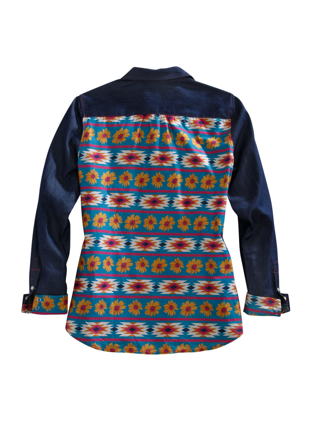 Tin Haul Collection Tinhaul Womens Long Sleeve 00131 Lt Wt Denim Pcd Wdaisy Aztec