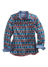Tin Haul Collection Tinhaul Womens Long Sleeve 3920 Coral Aztec