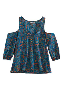 Tin Haul Collection Tinhaul Womens Long Sleeve 2167 Cactus Flower Paisley Peasant Top