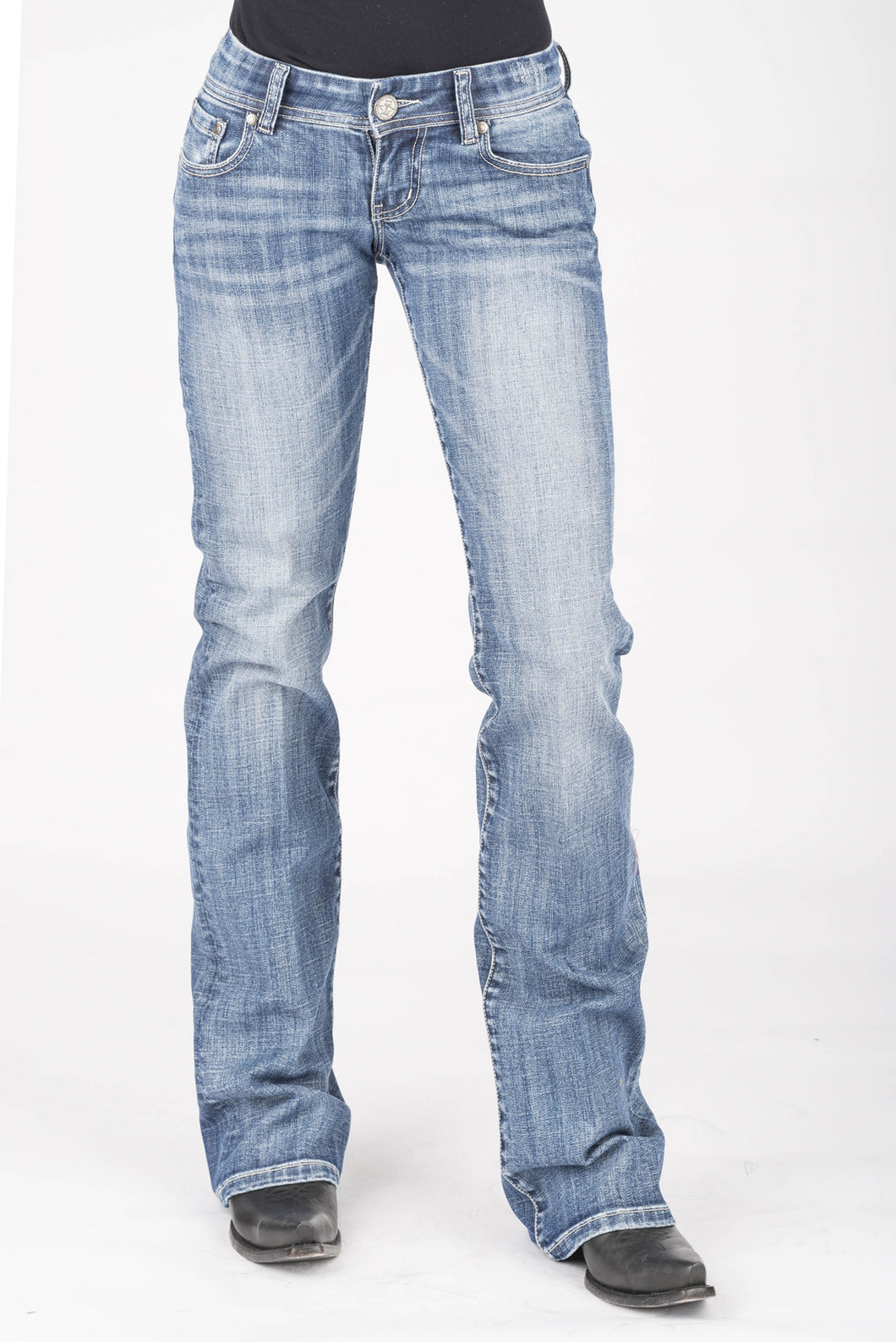 Tin Haul Gal's Jean Tinhaul Womens Jeans Raised Embroidred Line Deco Back Pkt
