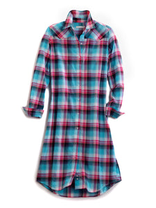 Tin Haul Collection Tinhaul Womens Long Sleeve Dress 0871 Blue Sage Plaid Duster