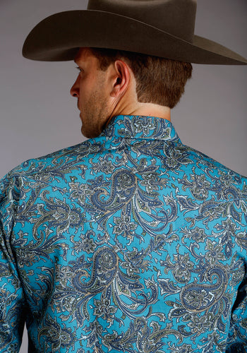Stetson Men's Collection- Spring Iii Stetson Mens Long Sleeve Shirt 1504 Aquamarine Paisley