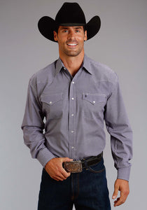 Stetson Men's Collection- Summer I Stetson Mens Long Sleeve Shirt 0988 Check Geo