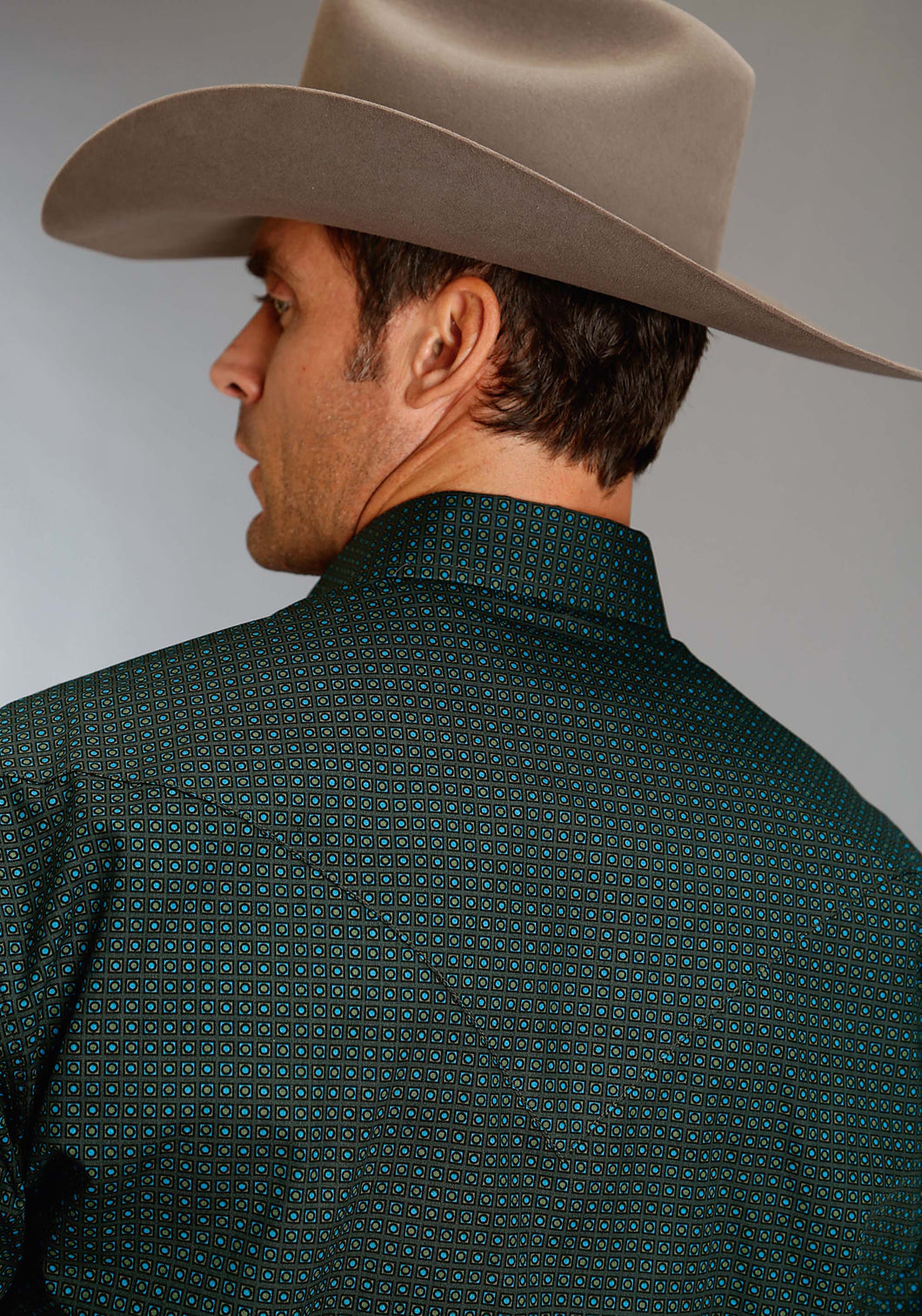 Stetson Men's Collection- Fall Iii Stetson Mens Long Sleeve Shirt 1179 Square Pegs Geo