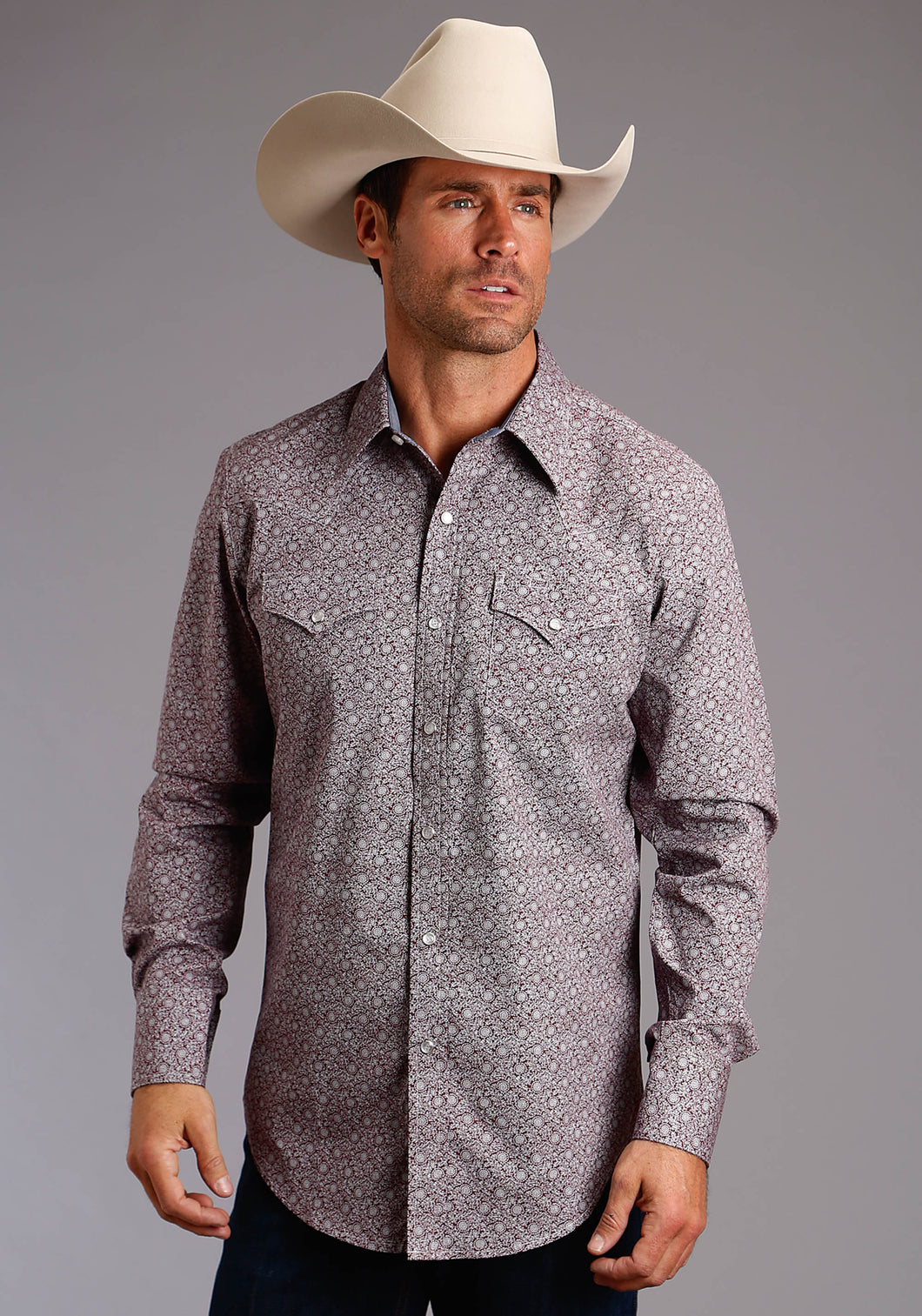 Stetson Men's Collection- Original Rugged Stetson Mens Long Sleeve 2213 Vine Print
