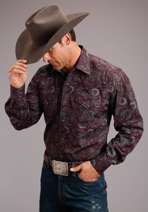 Stetson Men's Collection- Fall Ii Stetson Mens Long Sleeve 00288 Wine Paisley