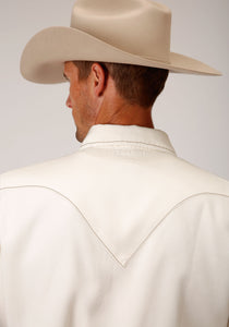Stetson Men's Collection- Original Rugged Stetson Mens Long Sleeve Cream Tencel Twill Shirt
