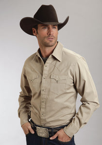 Stetson Mens Collection- Fall I Modern Fit Stetson Mens Long Sleeve Khaki Solid Twill 8168
