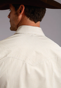 Stetson Men's Collection- Instock Stetson Mens Long Sleeve Shirt 5663c1 Two Stripe Check - Gold