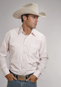 Stetson Men's Collection- In Stock Stetson Mens Long Sleeve 5663 Two Stripe Check - Pink