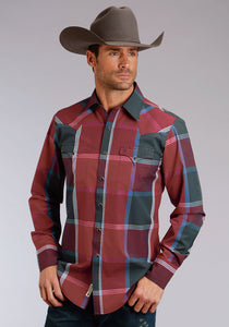 Stetson Men's Collection- Original Rugged Stetson Mens Long Sleeve Shirt 1469 Varsity Plaid