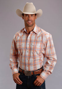 Stetson Men's Collection- Spring I Stetson Mens Long Sleeve Shirt 1515 Orange Plume Plaid