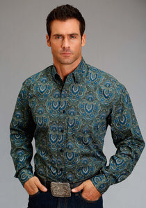 Stetson Men's Collection- Fall Iii Stetson Mens Long Sleeve Shirt 1178 Peacock Paisley