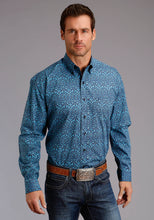 Stetson Men's Collection- Fall Ii Stetson Mens Long Sleeve 1847 Blue Vintage Print