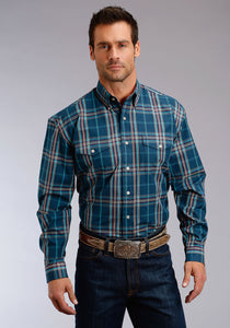 Stetson Men's Collection- Winter Ii Stetson Mens Long Sleeve Shirt 1280 Midnight Plaid