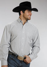 Stetson Men's Collection- In Stock Stetson Mens Long Sleeve 5663c3 Two Stripe Check - Navy