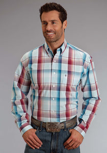 Stetson Men's Collection- Spring I Stetson Mens Long Sleeve Shirt 0821 Wine Water Ombre