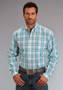 Stetson Men's Collection- Spring Iii Stetson Mens Long Sleeve Shirt 0820 Blue Springs Plaid