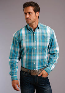 Stetson Men's Collection - Summer Ii Stetson Mens Long Sleeve 00194 Teal Plaid