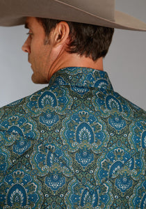 Stetson Mens Long Sleeve Shirt 1178 Peacock Paisley