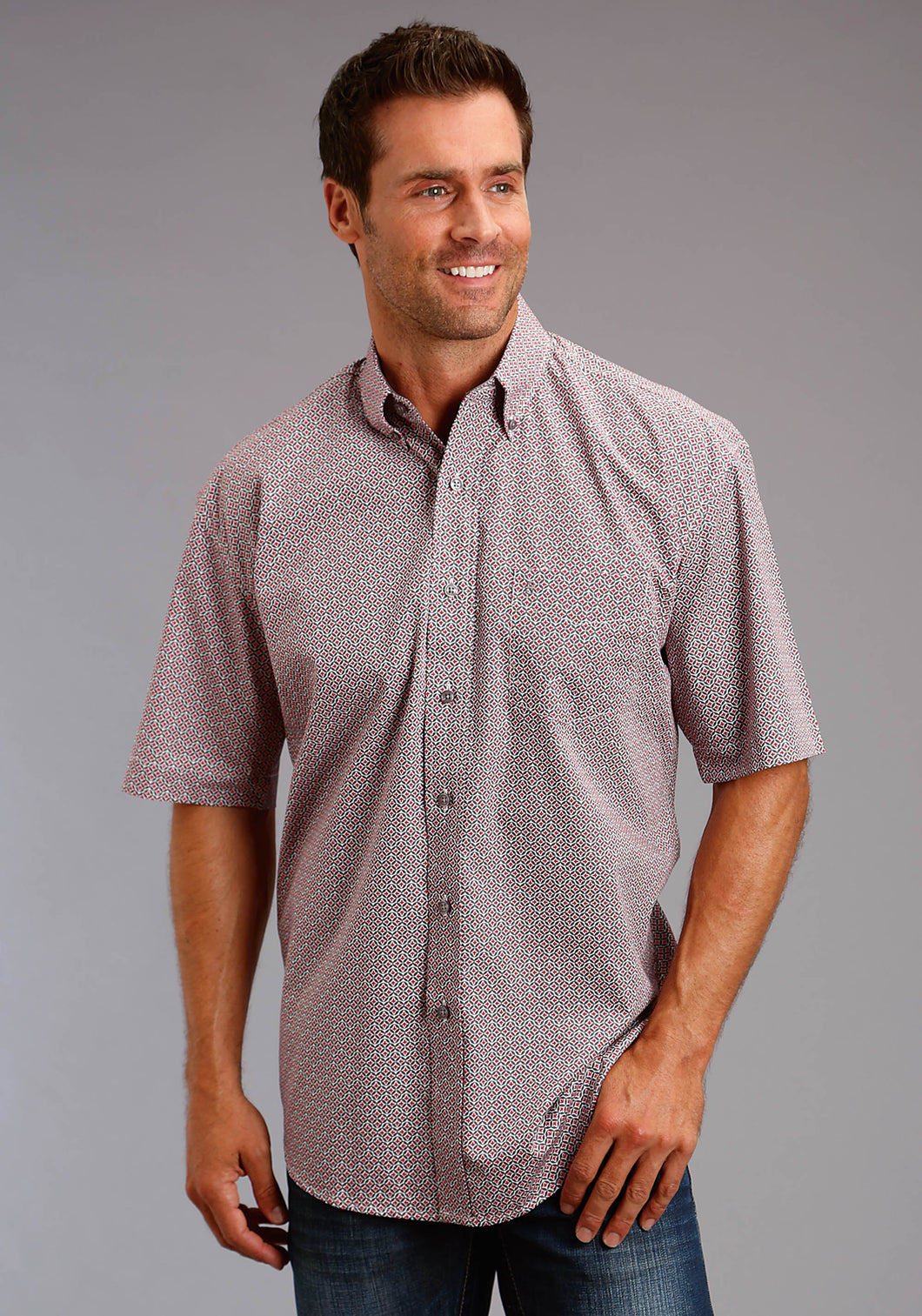 Stetson Men's Collection- Summer Iii Stetson Mens Short Sleeve Shirt 1658 Fluer Di Li