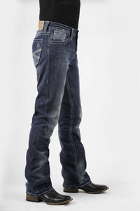 "Stetson Men's Collection-instock Stetson Mens Jeans Med Wash Wwhite ""x"" Back Pkt Deco"