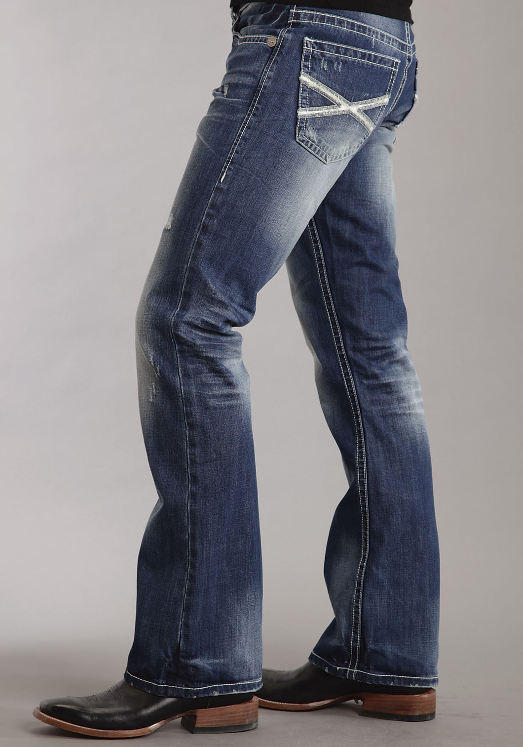 Stetson Men's Collection-instock Stetson Mens Jeans Med Wash Wwhite