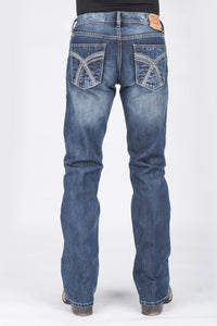 "Stetson Mens Jean- 1014 Fit Stetson Mens Jeans Grey ""x"" Pieced Back Pkt Wstitche Ows"