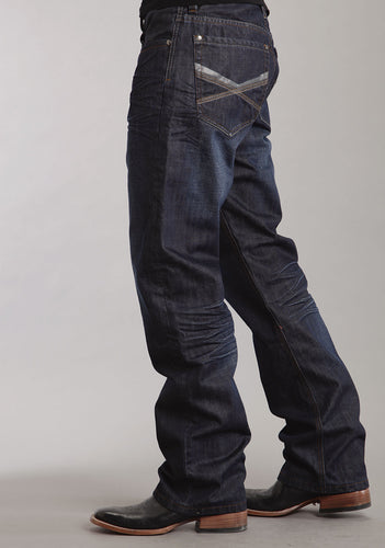 Stetson Men's Collection-instock Stetson Mens Jeans Med Dark Navy Wash Wtonal Screnprnt