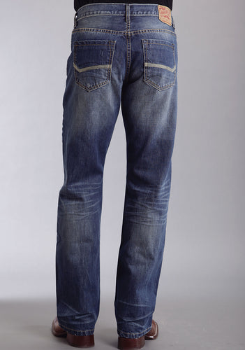 Stetson Men's Jeans - 1312 Fit Stetson Mens Jeans Med Wash E Heavy Stitching On Bk Pkt