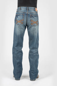 "Stetson Men's Collection-instock Stetson Mens Jeans Tan Emb ""x"" Deco On Back Pkt Ows"
