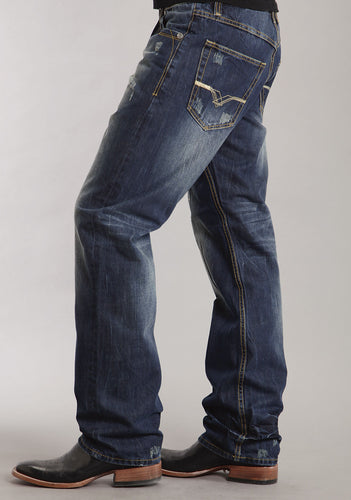 Stetson Men's Collection-instock Stetson Mens Jeans Very Dark Navy Wash Wcreasing Allover