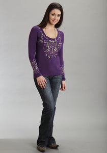 Stetson Ladies Collection- Fallwinter Iv Stetson Ladies Long Sleeve Shirt 8835 Rayon Spandex Jersey Tee
