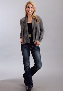 Stetson Ladies Collection- Fall I Oldwest Ladies Long Sleeve Shirt 9952 Heather Grey Cropped Cardigan