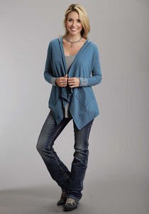 Stetson Ladies Collection- Summer Ii Stetson Ladies Long Sleeve Shirt 9831 Teal Slub Cotton Hooded Cardigan