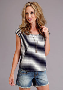 Stetson Ladies Collection- Summer I Stetson Womens Short Sleeve 3665 Navywhite Stripe Jersey Knit