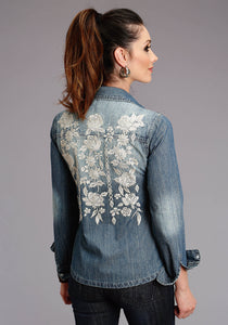 Stetson Ladies Collection- Winter I Stetson Womens Long Sleeve Boyfriend Fit Denim Emb Blouse