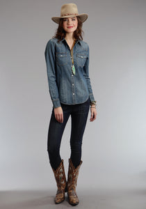 Stetson Ladies Collection- Fall Ii Stetson Womens Long Sleeve Shirt Denim Western Blouse 5.6 Oz