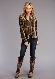 Stetson Ladies Collection- Fall Iii Stetson Womens Long Sleeve 0701 Stretch Crush Velvet Blouse