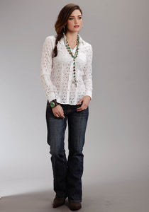 Stetson Ladies Collection- Spring I Stetson Ladies Long Sleeve Shirt 0320 Optic White Eyelet Wstn Shirt