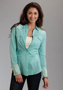 Stetson Ladies Collection- Spring Iii Stetson Ladies Long Sleeve Shirt 0313 Solid Lawn Western Shirt