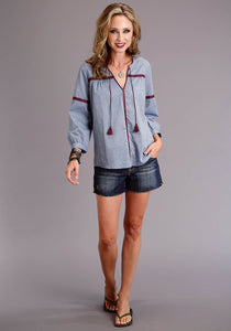 Stetson Ladies Collection- Summer I Stetson Womens Long Sleeve 3813 Chambray 34 Slv Peasant Top