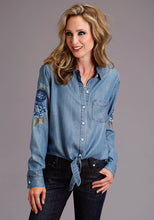 Stetson Ladies Collection- Summer I Stetson Womens Long Sleeve Long Sleeve Button Front Tie Front
