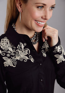 Stetson Ladies Collection- Fall Iii Stetson Ladies Long Sleeve Shirt 9940 Black Rayon Twill Wstrn Shirt